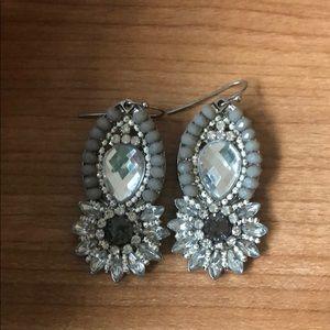 Grey and clear stone dangle earrings